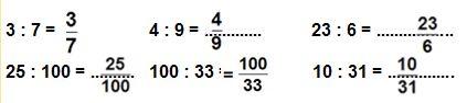 Vở bài tập Toán 5 Trang 3 Ôn tập Khái niệm về phân số  Bài 1  Tuần 1